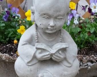 Concrete CHILD BUDDHA W/BOOK statue