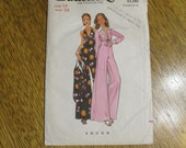 1970s SEXY Wide-Legged Halter Jumpsuit & Matching Bolero Jacket - Size 14 - VINTAGE Sewing Pattern Butterick 3083