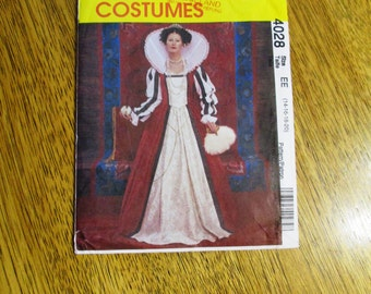 ELIZABETHAN / Renaissance Queen Elizabeth Gown with Vamp Collar - PLUS Size (14 - 16 - 18 - 20) - UNCUT Sewing Pattern McCalls 4028
