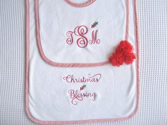 Christmas Baby Gift SetChristmas Bib and Burp Cloth Set Christmas Bib Set Baby Christmas Gift