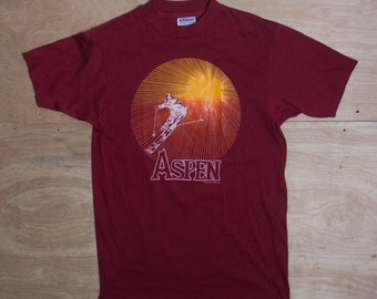 MED | 1980's Aspen Souvenir T Shirt on Hanes 50/50 Combed