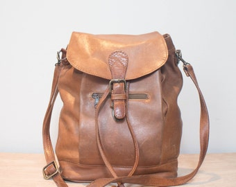 Brown Leather Convertible Backpack Shoulder Bag Crossbody