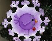 Snowflake ornament, whimsical bird, christmas ornament, bird decor, bird lover, wood snowflake, christmas tree ornament, hand painted,purple
