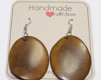 Sliced Tagua Nut Earrings, Tagua Earrings, Tagua Jewelry , Boho Jewelry, Bohemian Accessories