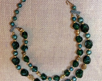 Green Glitter Lucite and Filagree Bead Double Strand Necklace