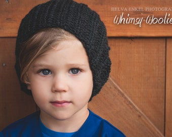 Crochet Slouch Hat Pattern: 'Ribbed Slouch Hat', Crochet Slouchy, Quick & Easy, Sizing Babe to Men