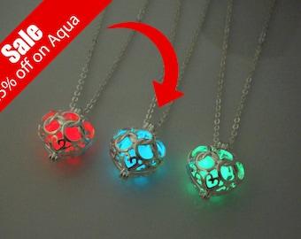 25% off Sale! Glow in the dark poisoned heart necklace, glow heart locket necklace, glow in the dark necklace, glow necklace