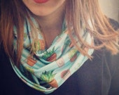 Succulent Plant pattern Infinity Scarf - cute quirky pattern geeky polyester outerwear
