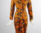 Reserved Vintage Cheongsam DRESS And Matching Fitted JACKET Stunning Colors MANDARIN Collar Floral Print Size Med