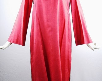 Vintage HALSTON For GIORGIO Beverly Hills RED Tunic Dress with Wide Sleeves and Side Slits
