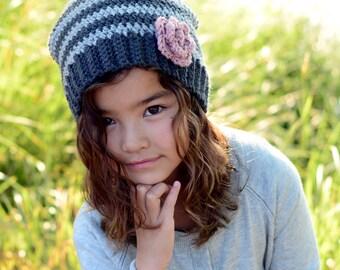 CROCHET PATTERN - Sweet & Simple - crochet hat pattern, crochet slouchy hat pattern w/ rose (Infant - Adult sizes) - Instant PDF Download
