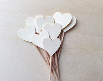 24 Cream/Manila Heart Cupcake Toppers, Party Decor, Weddings, Showers, Birthdays, Valentine's Day, Love