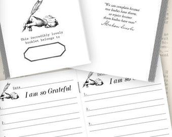 Mini Gratitude Journal printable paper crafting scrapbook mini book journal journaling instant download digital collage sheet - VDJORE1072