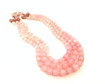 SALE Pink Satin Cut Glass Beaded Necklace - 1950s Triple Strand - Czech Glass Beads