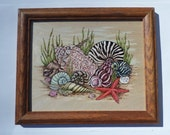 Seashell wood burning art, seashell wall decor, seashell wood wall art, nautical art, pyrography