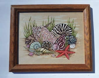 Seashell wood burning art, pyrography, wall decor