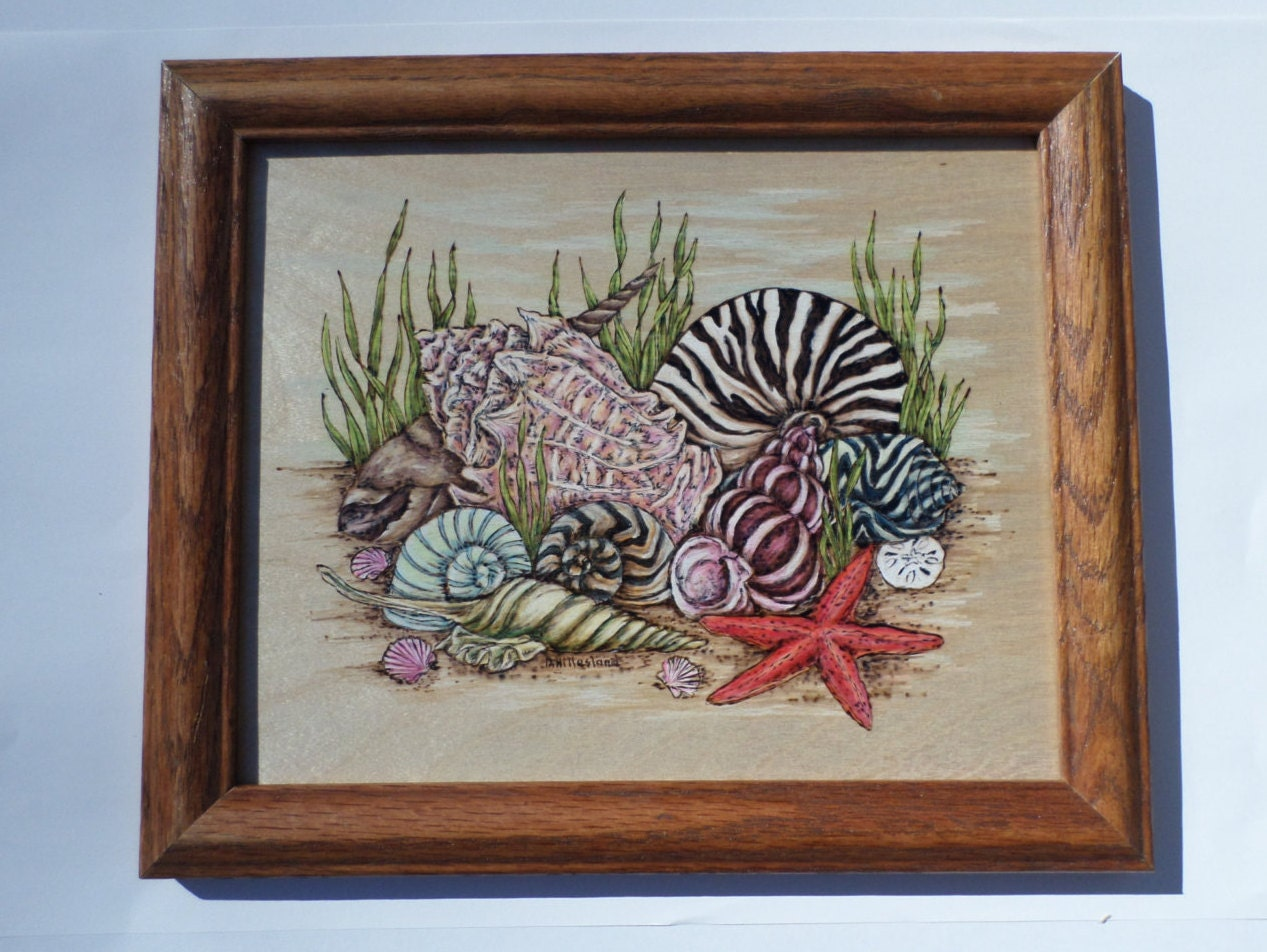 seashell wood burning art pyrography wall decor. Black Bedroom Furniture Sets. Home Design Ideas
