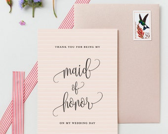 Thank You Maid Of Honor On My Wedding Day Card - Thin Strips Pattern