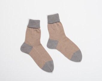 Handmade knitted socks - caramel beige and grey wool yarn - knitting home socks