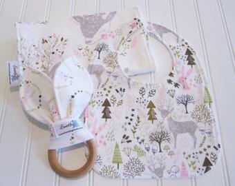Newborn Gift Set/Infant Bib, Burp Cloth & Teether/Hello My Deer/Organic Fleece Back