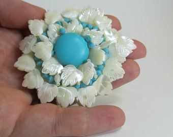 white and turquoise brooch - Mandala brooch in mother of pearl and turquoise magnesite - hand embroidered beads feminine brooch