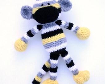 Morgan the Crochet Sock Monkey - grey, white, black, yellow - READY TO SHIP