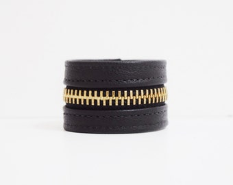 Black Zipper Bracelet (Leather with Gold Zippers)