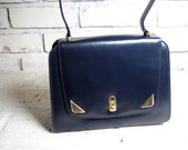 Vintage Dofan Handbag, Luxury Calfskin Leather,  Made in FRANCE - Smart Navy with Red Lining and Brass Accents
