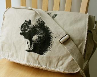 Squirrel Canvas Messenger Bag Laptop Bag