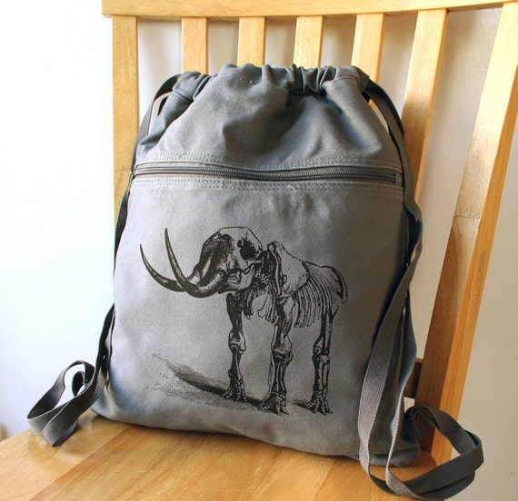 Dinosaur Backpack Canvas School Bag Laptop Bag Cinch Sack