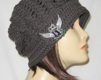 """Slouch decorated with brooch,beanie,hat,cap,dark grey,made to fit most teens & adults 21-23"""""""