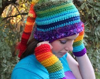 Rainbow Crochet Pixie Beenie