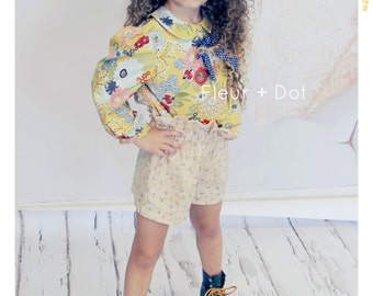 Floral Girls Blouse Peter Pan Collar Top Girls Bow Shirt Yellow Floral Top Blue Polka Dot Bow Baby Girl Top Girls Clothing Vintage Inspired