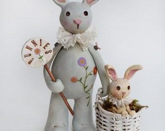 Spring Bunny - Bunny Art - Primitive Bunny - Collectible Bunny - Made To Order