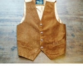 Beautiful Vintage Tan Real Suede Leather Waistcoat With Adjustable Back