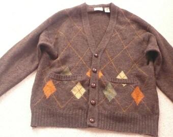 SALE  Brown wool argyll men's cardigan by De Fursac of Paris