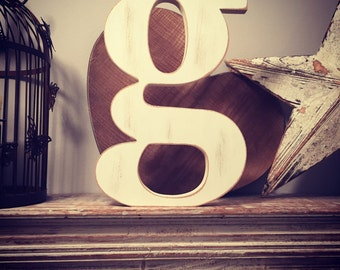 Hand-painted Wooden Letter - lowercase g - Freestanding - Georgian Font - Various sizes, finishes and colours