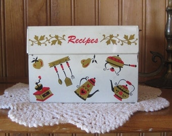 Mid Century Recipe Box - Painted Metal Index Card File - Country Farmhouse Kitsch