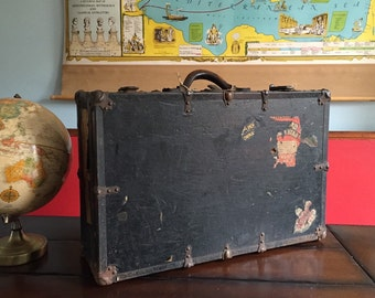 Vintage 1920s Steamer Trunk Style Suitcase Rustic Suitcase