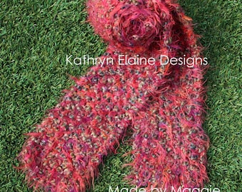 Red Multi-Color Hand Knit Scarf