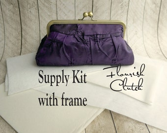Flourish Clutch kit, interfacing WITH FRAME kit, frame clutch purse kit, DIY, make your own clutch, diy bridesmaid gift