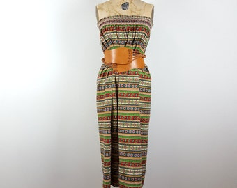 garden of hearts | vintage 70s strapless dress | cotton novelty print skirt | vintage 1970s | small/medium | s/m