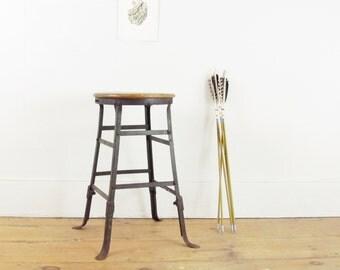 vintage industrial stool, metal factory stool,work stool, shop stool, steel stool, drafting stool, metal chair, industrial chair, circa 1950