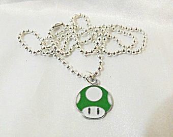 Silver Charm Necklace,  Mario Brothers ONE UP Green Enameled Mushroom Mens Womens Gift  Handmade