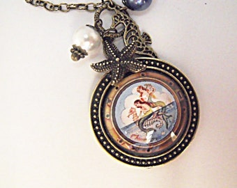 Bronze Pendant Necklace,  Vintage Mermaid and Seahorse Image With Pearls and Charms Womens Gift  Handmade