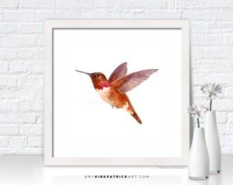 HUMMINGBIRD Painting, Hummingbird Print, Hummingbird Greeting Cards, Original Painting, Wall Decor, Bird Wall Art, Rufous Hummingbird