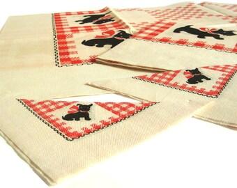 Scottie Dog Paper Napkins / Bridge Tablecloths 1950s Disposable Party Supplies Gingham