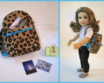 18 inch doll cheetah and turquoise backpack with accessories