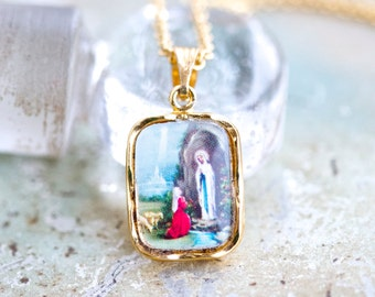 Our Lady of Lourdes Necklace - Colorful Kitsch Medallion - Religious Icon