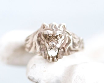 Lion Ring - sterling Silver Roar Ring - Size 7